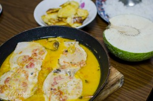 Our first dinner in Baracoa: Marlin on coconut milk / Nuestra primera cena en Baracoa: Castero en leche de coco