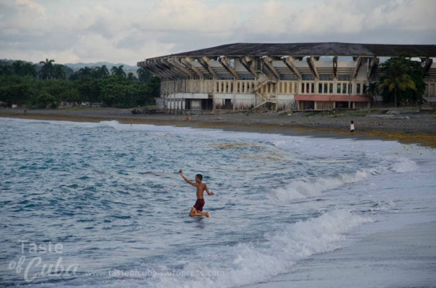 Baracoa´s Stadium at the seashore in Honey beach. Estadio de Baracoa a la orilla de la playa Miel.